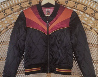 Black Rising Sun bomber Jacket |  Quilted 70s style satin lightweight fall Jacket as seen on @classicrockcouture 1970s sunburst red orange