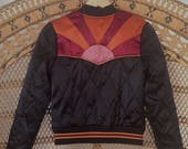 Rising Sun Bomber in Black Quilted 70s style satin Jacket lightweight ski as seen on classicrockcouture 1970s sunburst red orange
