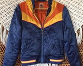 Navy Rising Sun Bomber Jacket as seen on classicrockcouture Instagram Navy Blue and gold 1970s retro Bomber quilted ski Jacket