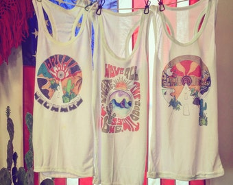 d5db46f6fda SALE Desert Inspired Tank Top series 50 50 Paper Thin white ribbed tank top  Classic Rock Couture desert psychedelic cactus top