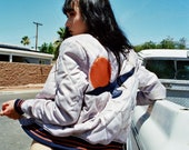 PREORDER Silver Wings Bomber Jacket 70s Minimal Silver Navy Burnt Orange Sun Retro Fall Quilted Jacket