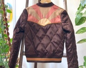 PRESALE Brown Sugar Rising Sun bomber Jacket Quilted 70s style satin fall Jacket 1970s sunburst chocolate brown with mustard and mauve