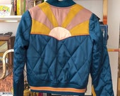 PRESALE Peacock Rising Sun bomber Jacket Quilted 70s style satin fall Jacket 1970s sunburst teal turquoise blue with mustard coral mauve