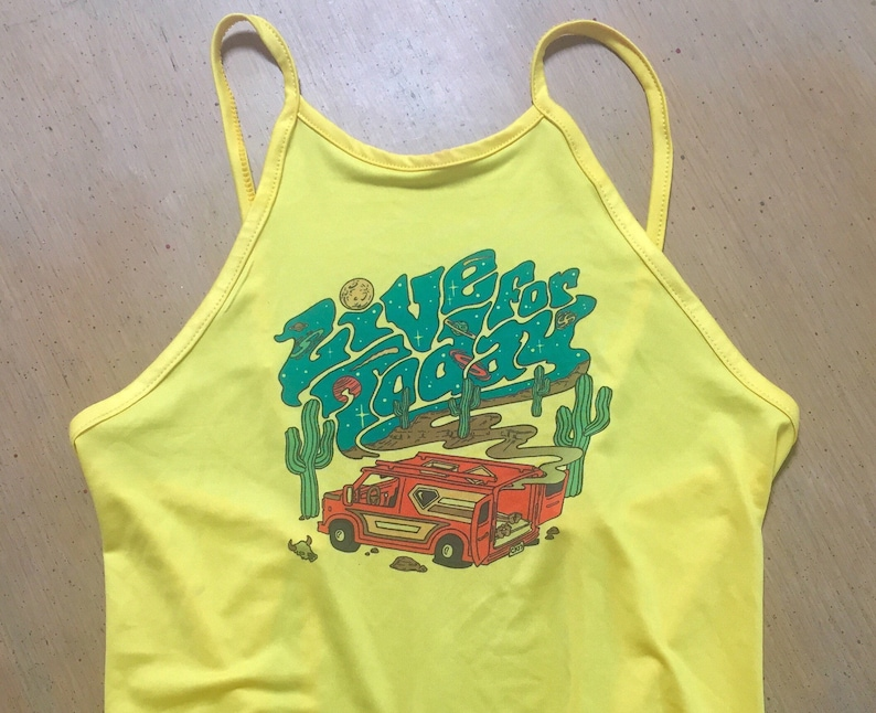 criss cross back one size fits most festival summer retro tank cro pick from three designs Live For Today Desert Vanners halter top