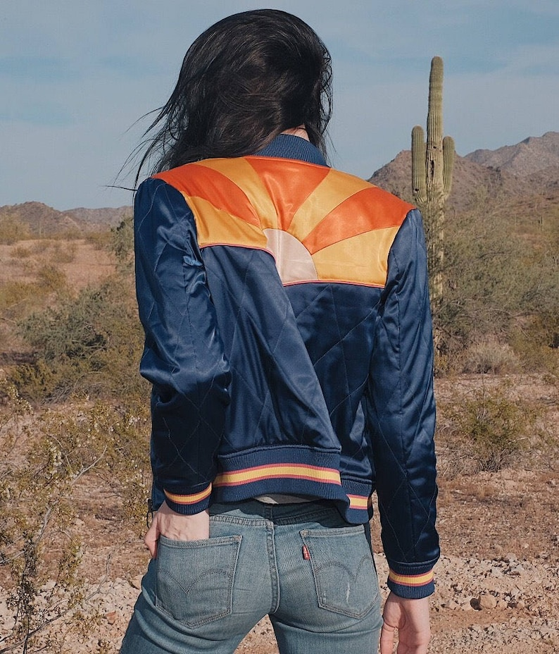 Rising Sun Jacket  Navy Blue Quilted 70s style Bomber Jacket image 0