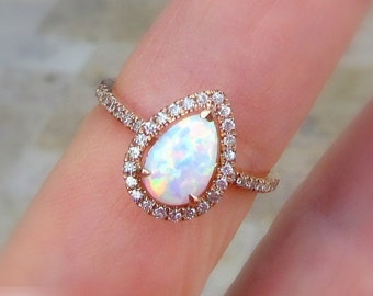 White Opal and Diamond Engagement Ring | MADE TO ORDER | 10kt, 14kt Gold