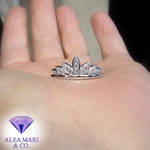 Final Reserved Listing for Rachel | Custom Platinum and Diamond Crown Wedding Band | Size 5.5