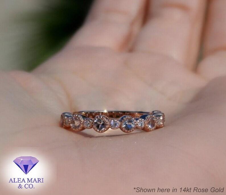 Morganite and Diamond Wedding Band 14kt Made To Order image 0