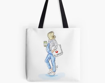 Pickles and Preggo Tote (Fashion Illustration art  Home Decor Gift Ideas  Gifts for Her Wedding Gifts Graduation Gifts Birthday Gifts)