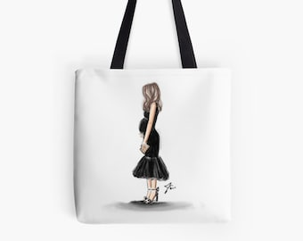 Little Black Bump Tote (Fashion Illustration art  Home Decor Gift Ideas  Gifts for Her Wedding Gifts Graduation Gifts Birthday Gifts)