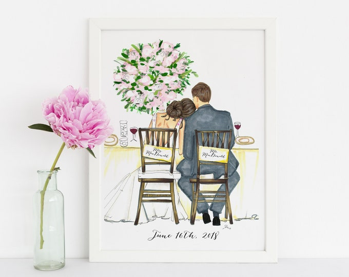 Featured listing image: The Bride and Groom (customization available) (Fashion Illustration Print) - Wedding - Bridal Print - Bridal Illustration - Bridesmaids