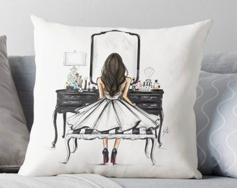 The Black Vanity  (Pillow) (Fashion Illustration art  Home Decor Gift Ideas  Gifts for Her Wedding Gifts Graduation Gifts Birthday Gifts)