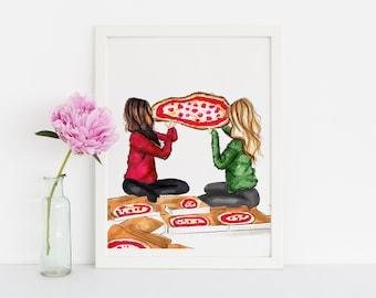 Pizza Party (Fashion Illustration Print) (Fashion Illustration Art - Fashion Sketch prints - Home Decor - Wall Decor )