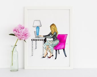 Pink Chair (Fashion Illustration Print) (Fashion Illustration Art - Fashion Sketch prints - Home Decor - Wall Decor )
