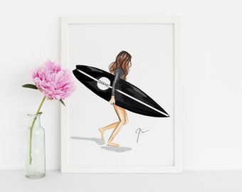 The Surfboard (Fashion Illustration Print - Fashion Illustration Art - Fashion Sketch prints - Home Decor - Wall Decor )
