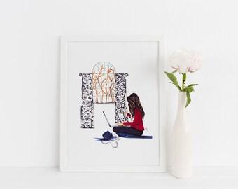 Saturday Mornings (Fashion Illustration PRINT - Fashion Sketch prints - Home Decor - Wall Decor )