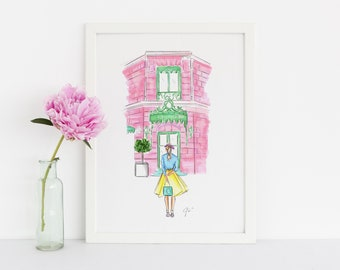 The Macaron Shop (Fashion Illustration Print)(Fashion Illustration Art - Fashion Sketch prints - Home Decor - Wall Decor )