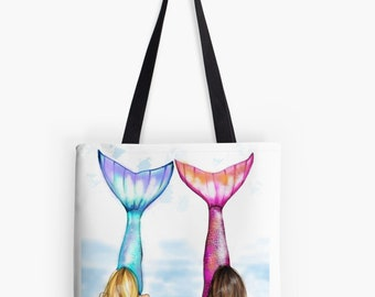 Mermaid Tote (Fashion Illustration art  Home Decor Gift Ideas  Gifts for Her Wedding Gifts Graduation Gifts Birthday Gifts)