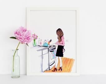 Cookin' in the Kitchen (Fashion Illustration Art - Fashion Sketch prints - Home Decor - Wall Decor )
