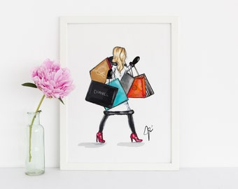 Shopping Is My Cardio (Fashion Illustration Print)(Fashion Illustration Art - Fashion Sketch prints - Home Decor - Wall Decor )