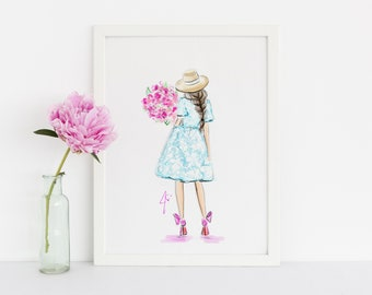 Bloom (Fashion Illustration Print)(Fashion Illustration Art - Fashion Sketch prints - Home Decor - Wall Decor )