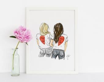 LIMITED EDITION Partner In Crime - (Fashion Illustration Print- Fashion Sketch prints - Home Decor - Wall Decor - Friends Art Best friends)