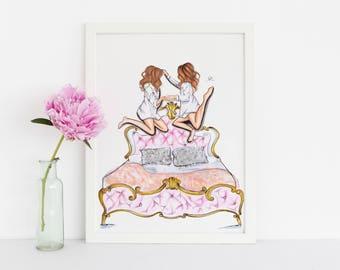 Slumber Party (Fashion Illustration Print) (Fashion Illustration Art - Fashion Sketch prints - Home Decor - Wall Decor )