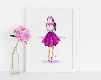 Birthday Cake (Fashion Illustration Print) (Fashion Illustration Art - Fashion Sketch prints - Home Decor - Wall Decor )