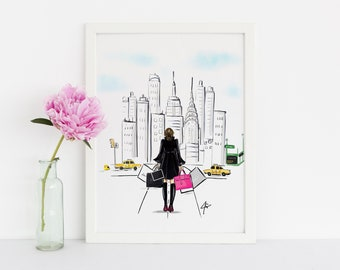5TH AVE  (Fashion Illustration Print)(Fashion Illustration Art - Fashion Sketch prints - Home Decor - Wall Decor )
