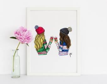 The Red Cup (Fashion Illustration Print) (Fashion Illustration Art - Fashion Sketch prints - Home Decor - Wall Decor )