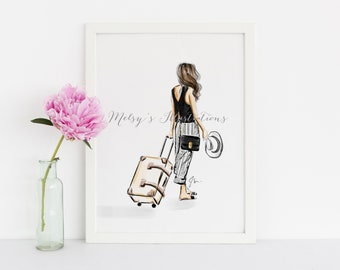 First Class (Fashion Illustration Print) (Fashion Illustration Art - Fashion Sketch prints - Home Decor - Wall Decor - traveler -  vacation)