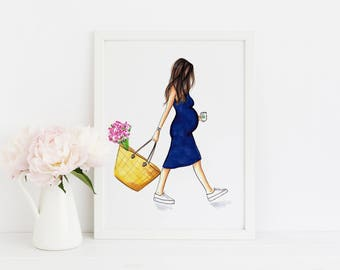 The Baby Bump (Fashion Illustration Print) (Fashion Illustration Art - Fashion Sketch prints - Home Decor - Wall Decor )