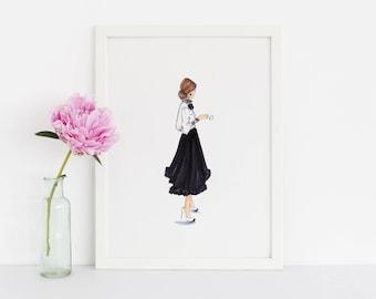 The Little Black Skirt (Fashion Illustration Print) (Fashion Illustration Art - Fashion Sketch prints - Home Decor - Wall Decor )