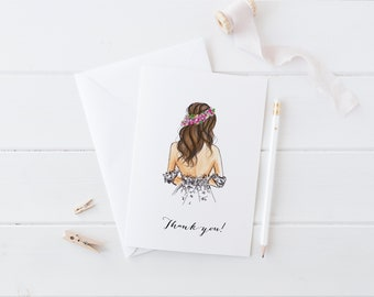Bride Thank you Card (Bridal Shower Thank you's - Wedding Thank you's - Will You Be My Bridesmaid - wedding card - Bridal Card - Bride Gift)