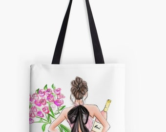 Roses or Rose TOTE (Fashion Illustration art  Home Decor Gift Ideas  Gifts for Her Wedding Gifts Graduation Gifts Birthday Gifts)