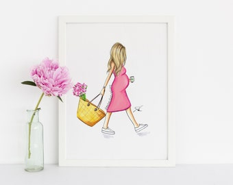 The Baby Bump (Pink Dress) (Fashion Illustration Print) (Fashion Illustration Art - Fashion Sketch prints - Home Decor - Wall Decor )