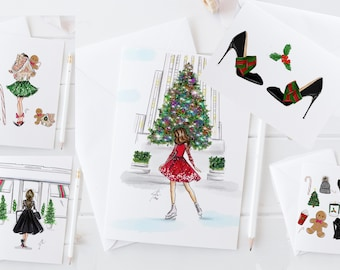 Holiday Card Set (Variety Pack of 10) (Melsy Cards Sets - Holiday Cards - Christmas Cards)