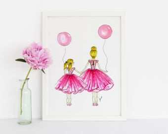 Little tutus (Fashion Illustration Art - Fashion Sketch prints - Home Decor - Wall Decor-Fashion Illustration Print )