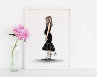 Little Black Bump (Fashion Illustration Print) (Fashion Illustration Art - Fashion Sketch prints - Home Decor - Wall Decor )