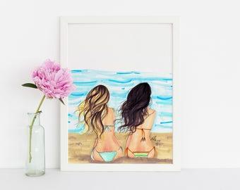 Beach Waves (Fashion Illustration Print) (Fashion Illustration Art - Fashion Sketch prints - Home Decor - Wall Decor )