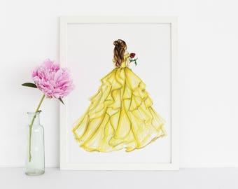Princess and the Rose (Fashion Illustration Print) (Fashion Illustration Art - Fashion Sketch prints - Home Decor - Wall Decor )