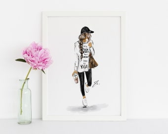Never Been to Yoga  (Fashion Illustration Print)(Fashion Illustration Art - Fashion Sketch prints - Home Decor - Wall Decor )