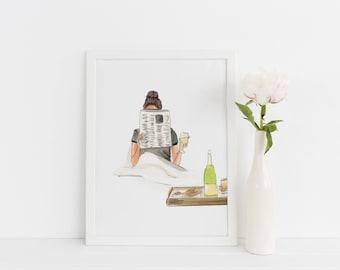 Wine Down (Fashion Illustration Print)(Fashion Illustration Art - Fashion Sketch prints - Home Decor - Wall Decor )