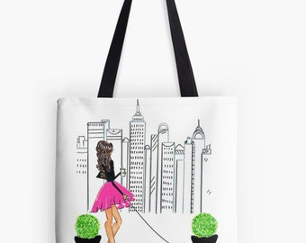 The City and the Poodle TOTE (Fashion Illustration art  Home Decor Gift Ideas  Gifts for Her Wedding Gifts Graduation Gifts Birthday Gifts)