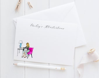 The Pink Chair Personalized Stationery Set (Flat Cards)