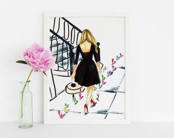 Follow the shoe road (Fashion Illustration Art - Fashion Sketch prints - Home Decor - Wall Decor )