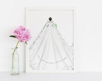 The Royal Veil (Fashion Illustration Print) ( Art - Fashion Sketch prints - Home Decor - Wall Decor- The Royal Wedding- Meghan Markle )