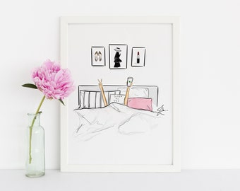 Sleep All Day (Fashion Illustration Print) (Fashion Illustration Art - Fashion Sketch prints - Home Decor - Wall Decor )