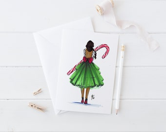Candy Cane (Card)(Melsy Cards Sets - Personalized Stationery Wedding Cards  Birthday Cards Bridal Shower Cards)