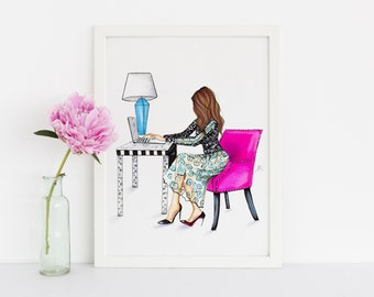 Pink Chair (Fashion Illustration Print)(Fashion Illustration Art - Fashion Sketch prints - Home Decor - Wall Decor )